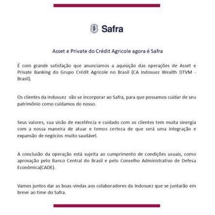 Comunicado do banco Safra